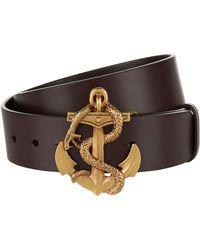 Ralph Lauren - Anchor Leather Belt - Lyst