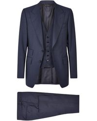 Tom Ford Shelton Three-piece Suit - Blue