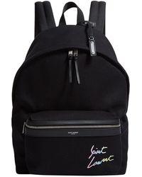 Saint Laurent Signature Logo Backpack - Black
