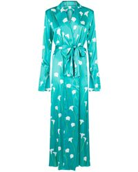 Caroline Constas Floral Long Robe - Green