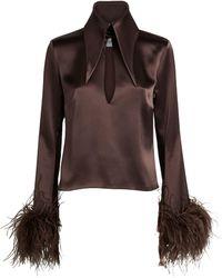 16Arlington Michelle Feather-trim Top - Brown