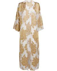 Marie France Van Damme Silk-blend Floral Print Kaftan - Metallic