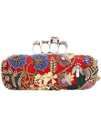 Alexander McQueen - Embellished Knuckle Box Clutch, White, One Size - Lyst