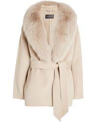 Harrods Jacquie Fur-trim Wrap Jacket - Natural