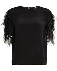 Yves Salomon Silk Feather-trim Top - Black