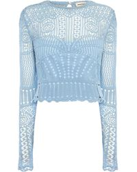 Alexander McQueen Lace-embroidered Top - Blue