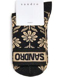 Sandro Daisy Print Logo Socks - Black