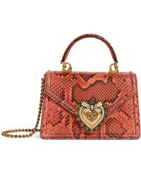 Dolce & Gabbana Kleine Snakeskin Devotion Schultertasche - Rot