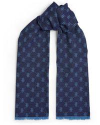 Harrods Woven H Logo Wool Scarf - Blue