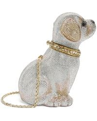 Judith Leiber Crystal Puppy Luna Clutch Bag - Metallic