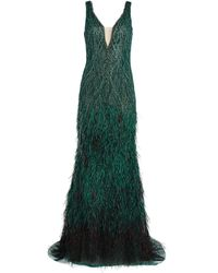 Jovani Feather-embellished Gown - Green