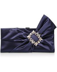 Roger Vivier Satin Bow Clutch Bag - Blue