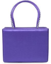 AMINA MUADDI Super Mini Embellished Satin Gilda Top-handle Bag - Purple