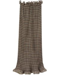 Burberry Ruffle-detail Check Chiffon Pleated Skirt - Brown