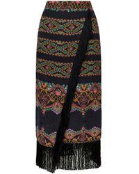 Etro - Fringed Printed Wrap Skirt - Lyst