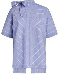 MAX&Co. Cotton Striped Top - Blue