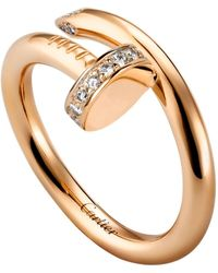 Cartier - Pink Gold And Diamond Juste Un Clou Ring - Lyst