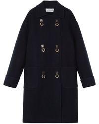 Loewe Oversized Double-breasted Overcoat - Blue