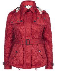 Burberry Short Finsbridge Quilted Coat - Red