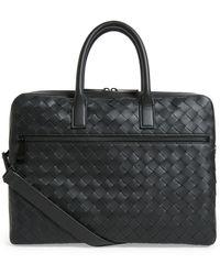 Bottega Veneta Leather Intrecciato Briefcase - Black