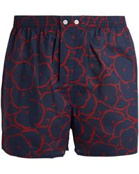 Derek Rose Cotton Floral Boxers - Blue