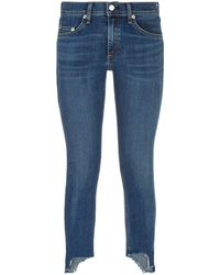 Rag & Bone - Capri Distressed Hem Skinny Jeans - Lyst