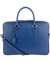 Burberry Slim Leather Briefcase - Blue