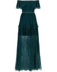 Self-Portrait Off-the-shoulder Lace Gown - Green