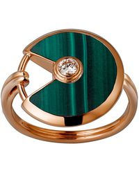 Cartier - Small Pink Gold And Malachite Amulette De Ring - Lyst