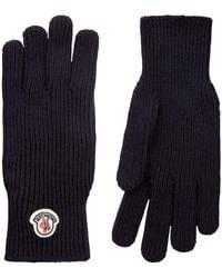 Moncler - Ribbed Knit Logo Gloves - Lyst