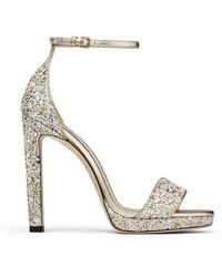 Jimmy Choo Misty 120 Glitter Sandal - Metallic
