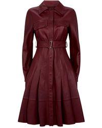 Sportmax Leather Jacket Dress - Purple
