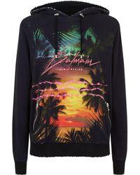 Balmain - Tropical Print Zip Detail Hoodie - Lyst