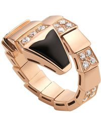 BVLGARI - Rose Gold, Diamond And Black Onyx Serpenti Ring - Lyst