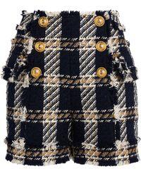 Balmain Check Tweed Shorts - Black
