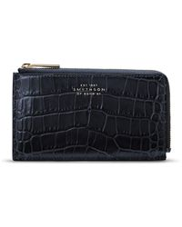 Smythson Croc-embossed Leather Coin Purse - Blue