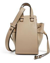 Loewe Mini Leather Hammock Drawstring Bag - Natural