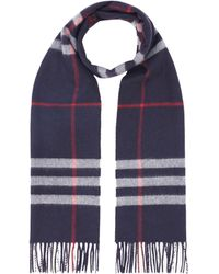 Burberry Fringed Check Scarf - Blue