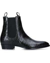 Giuseppe Zanotti Leather Croc-embossed Boots - Black