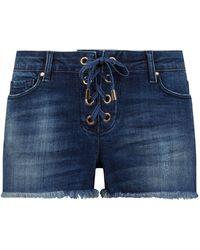 Melissa Odabash Embellished Denim Lace-up Shorts - Blue