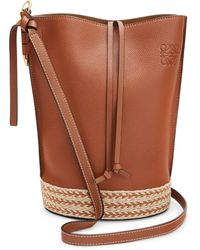Loewe X Paula's Ibiza Leather Gate Bucket Bag - Natural