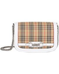 Burberry - Leather-trimmed Checked Cotton-canvas Shoulder Bag - Lyst