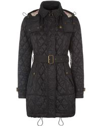 Burberry Finsbridge Diamond Quilted Coat - Black