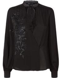 Elie Saab Floral Embellished Top - Black