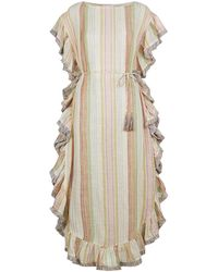 Zimmermann Belted Fringed Stripe Kaftan - Natural