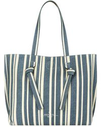 Weekend by Maxmara - Reversible Leather Striped Tote Bag - Lyst