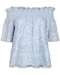 Needle & Thread - Dust Blue Embroidered Off The Shoulder Top - Lyst