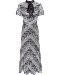 Temperley London - Platinum Tie Neck Midi Dress - Lyst
