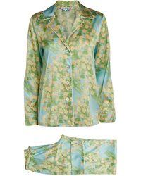 BERNADETTE Satin Floral Print Pajama Set - Yellow
