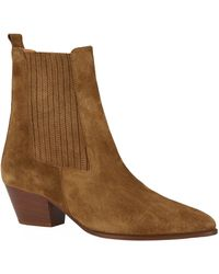 Sandro Almond-toe Suede Ankle Boots - Brown